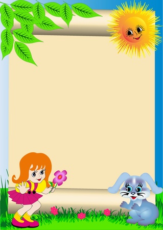 illustration background child with flower and rabbit Stock Vector - 10359315