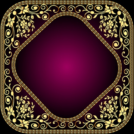 rococo: illustration frame with gold pattern and revenge for text