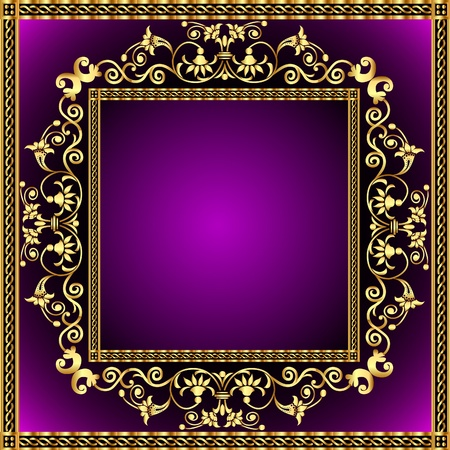 fleur: illustration frame with gold pattern and revenge for text