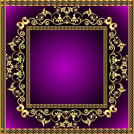 revenge: illustration frame with gold pattern and revenge for text