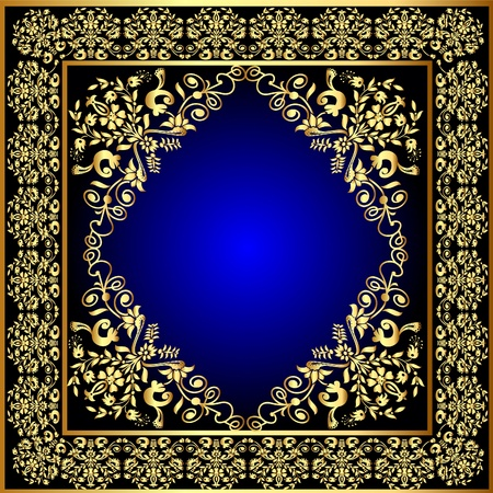 illustration frame with gold pattern and revenge for text Stock Vector - 10390597