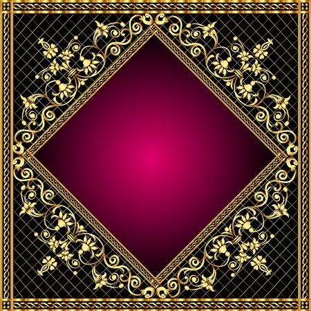 illustration frame with gold pattern and revenge for text Stock Vector - 10390596