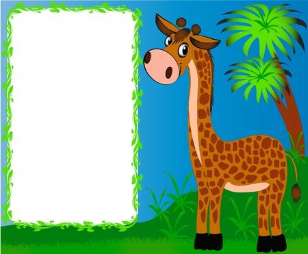 illustration frame nursery nice giraffe on background of the palms Stock Vector - 10405561