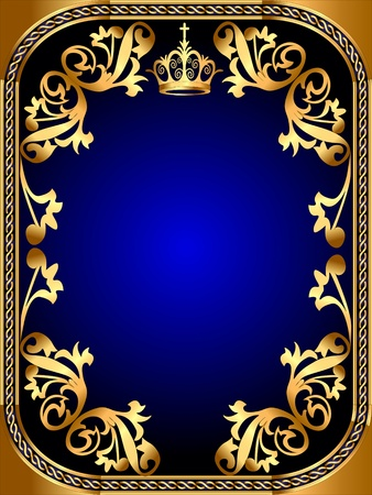 ornate gold frame: illustration background frame with gold pattern and crown