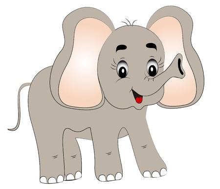 illustration jovial jeune �l�phant sur fond blanc