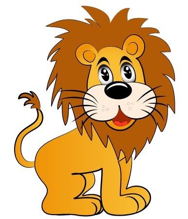 illustrazione divertente giovane leone su sfondo bianco Vettoriali