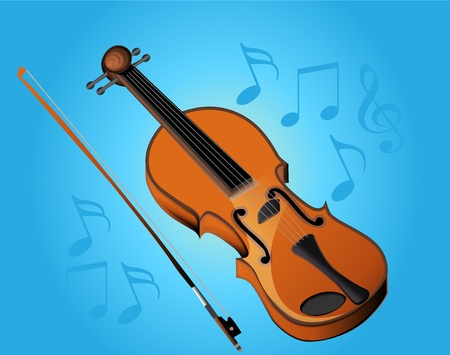 fiddle:  illustration violin bow and music on turn blue background Illustration