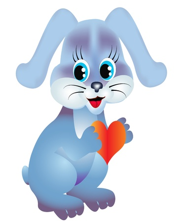 illustration rabbit keeps heart is isolated on white Vector