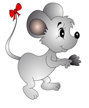 the mouse with small bow on tail, is insulated on white. Stock Vector - 10421445