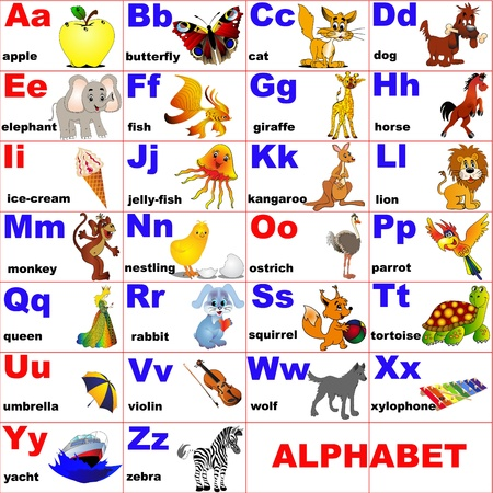 english alphabet: illustration animals placed on letter of the alphabet