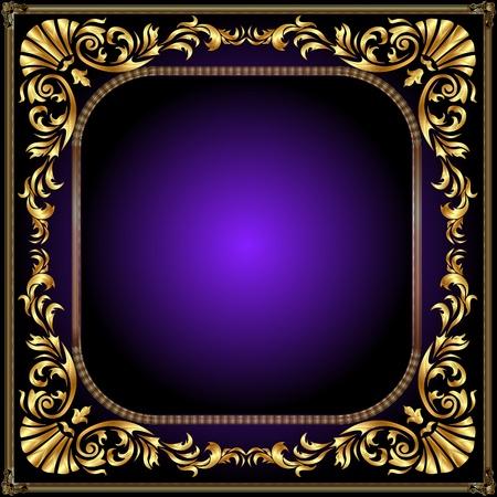 illustration winding gold pattern frame Vector