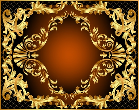rococo style: illustration winding gold pattern frame Illustration