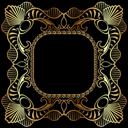 illustration winding gold pattern frame Stock Vector - 10488344