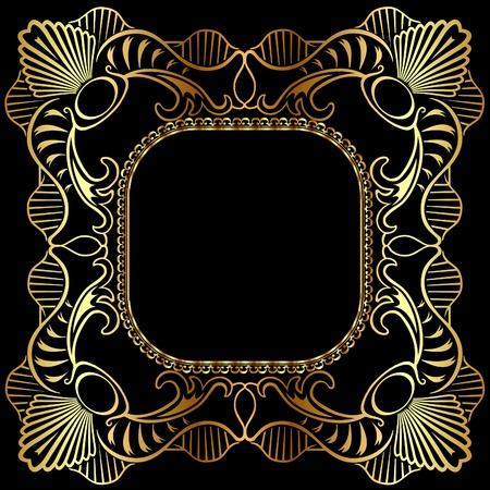illustration winding gold pattern frame Illustration