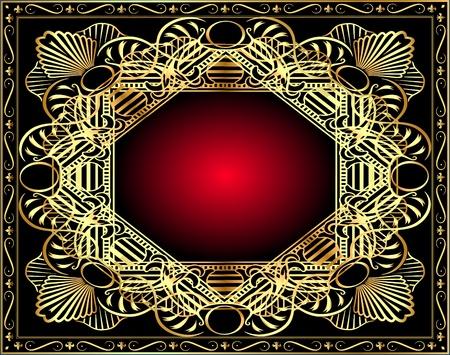 red rose black background: illustration winding gold pattern frame Illustration