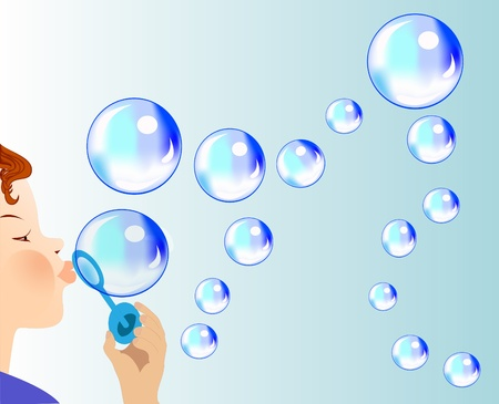 illustration child blows soapy bubble which fly Vector