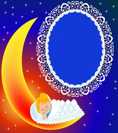 illustration frame on moon child sweetly sleeps Vector