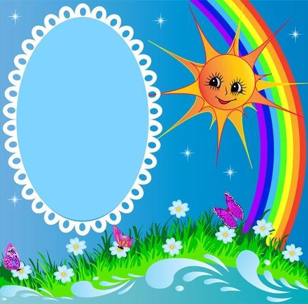 cadre de l'illustration avec le soleil papillon et arc-en-