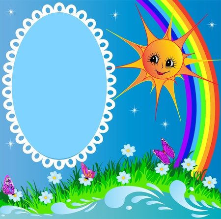 illustration frame with sun butterfly and rainbow Vector