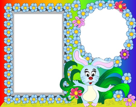 illustration frame for photo rabbit with flower Vector
