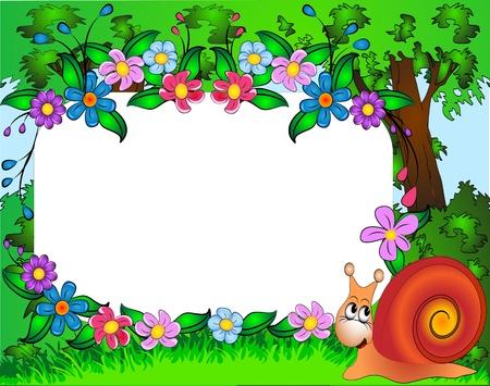 krokus: illustratie frame voor foto kleuter-slak en bloemen