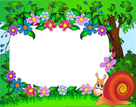 flower garden: illustration frame for photo nursery snail and flower Illustration