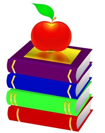 stapel papieren: illustratie stapel boeken en appel zijn geïsoleerd op een witte achtergrond
