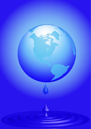 illustration globe loses water on drop water Vector