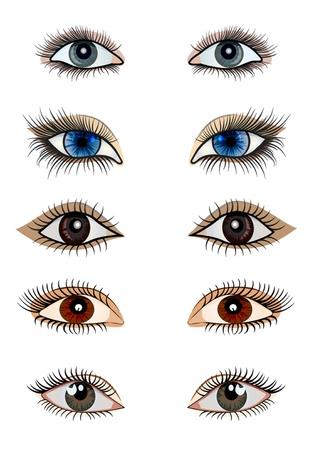 kit de ilustración abierta femenina ojo aislado en blanco