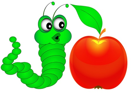 fruit worm:  illustration green surprised caterpillar looks at apple Illustration