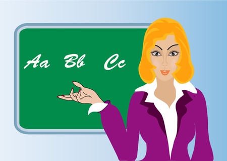 illustration making look younger woman teacher on background of the school board Vector