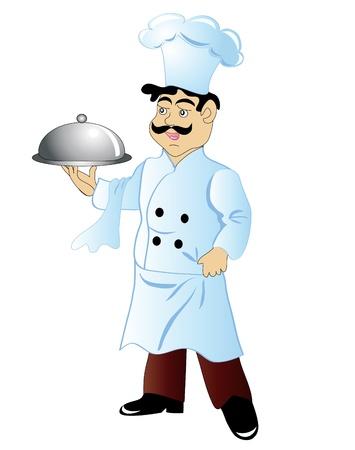 ilustración cocinero feliz con la comida en la mano está aislado