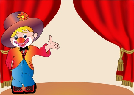 circus stage: illustration merry clown on scene with curtain