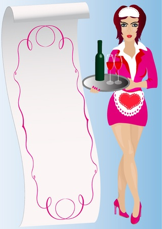 illustration waitress keeps on tray wine and goblets Stock Vector - 10567749