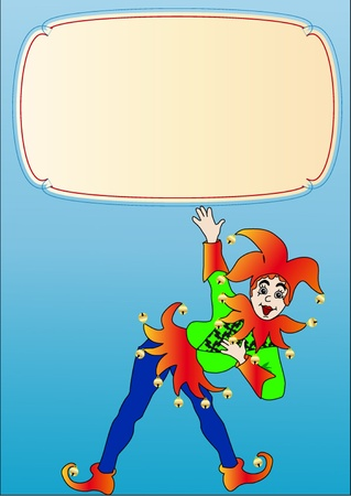 jester:  illustration frame with merry bright clown and label