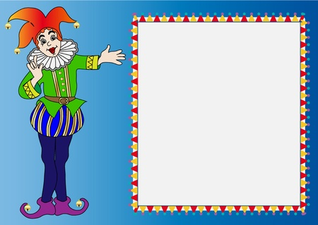 harlequin:  illustration frame with merry bright clown on we turn blue