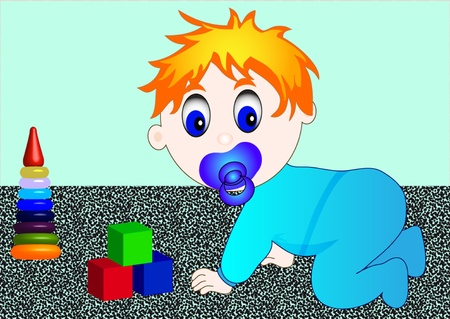 illustration small child with toy cube and pyramid Vector
