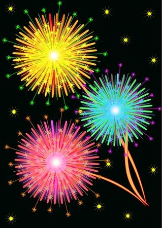 illustration  bright salute firework on black background Stock Vector - 10567765