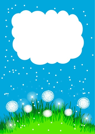 glade:  illustration glade with dandelion and cloud and herb