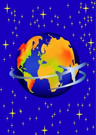 illustration planet and flying plane amongst star Vector