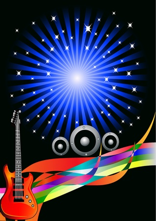 illustration background with guitar and row amongst stars Vector