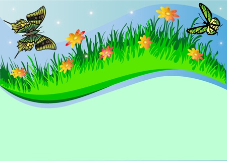 illustration background with herb butterfly and flower Stock Vector - 10572961