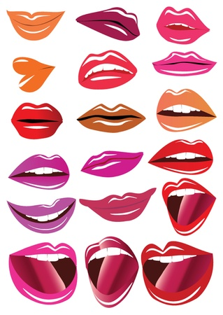 illustration kit brilliant lips on white background Vector