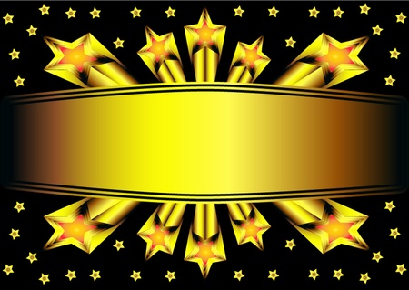 illustration background with gold star and label Stock Vector - 10572953