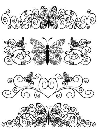 grecas:  patrón de ilustración de mariposa de espirales y hoja Vectores