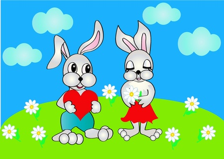 illustration rabbit presents heart to female, which keeps flower Vector