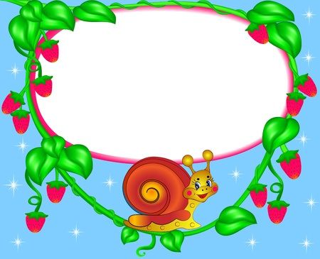 illustration nursery frame for photo snail with berry Vector