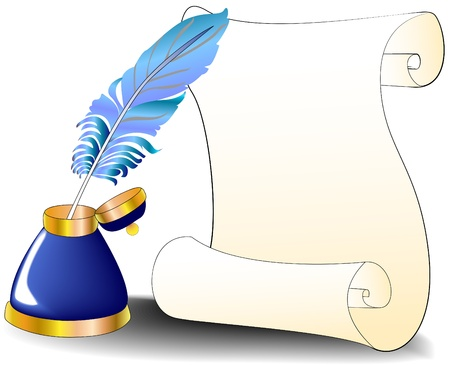 feather quill: illustration feather roll and inkwell for message