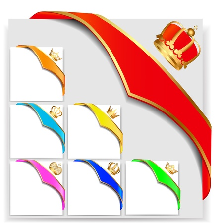 corner decoration: illustration set ribbon angular with gold  crown