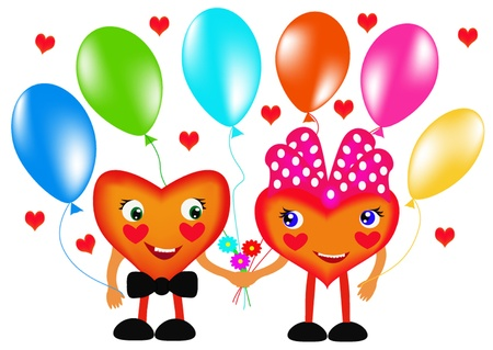 illustration two hearts with air ball and flower Stock Vector - 10621959